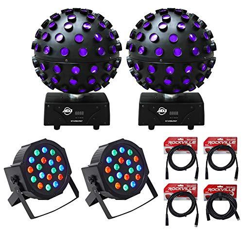 2 American DJ Starburst LED Spheres DJ Lighting Effect+2 Par lights+dmx cables