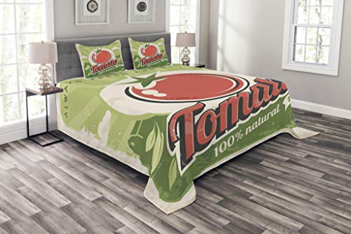 (Ambesonne Vintage Bedspread Set Queen Size, Vintage Tomato Poster with an Antique Paper Print in Contemporary Graphic Design, Decorative Quilted 3 Piece Coverlet Set with 2 Pillow Shams, Green Cream)