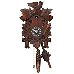 River City Clocks Call Cuckoo Clock with Hand Carved Quarter Five Leaves and One Bird