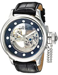 Invicta Mens Russian Diver Automatic Stainless Steel and Leather Casual Watch, Color:Black (Model: 24593)