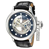 Men's 'Russian Diver' Automatic Stainless Steel and Leather Casual Watch, Color:Black (Model: 24593)
