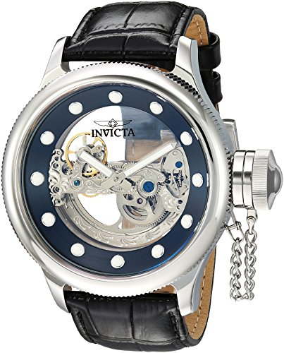 (Invicta Men's Russian Diver Stainless Steel Automatic-self-Wind Watch with Leather Calfskin Strap, Black, 1.1 (Model: 24593))