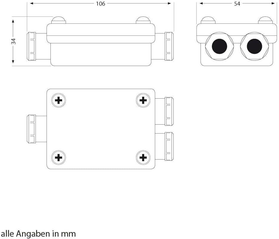 Câble-connecteur deux prises pour l/'extérieur Muffe pour 6-8mm câble IP68 10 p