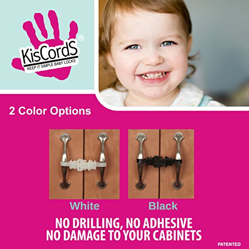 Kiscords Baby Safety Cabinet Locks For Handles Child Safety Cabinet Latches For Home Safety Strap For Baby Proofing Cabinets Kitchen Door RV No Drill No Screw No Adhesive /4 Pack (Black) by KisCords (Image #3)