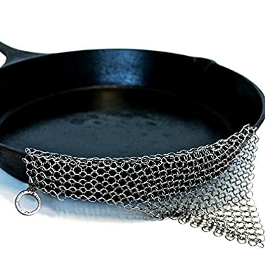 The Ringer - The Original Stainless Steel Cast Iron Cleaner, Patented XL 8x6 inch Design