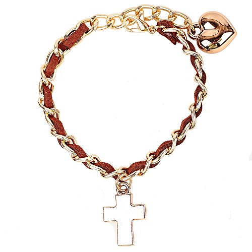 Price comparison product image Winter's Secret Women Adjustable Brown Cross Pendant Fashion Hand Knitting Link Bracelet