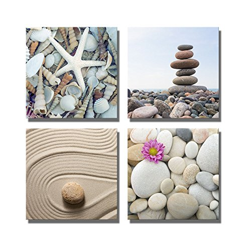 Zen Garden Stone and Pebbles Stack over and Seashells Wall Decor ation x 4 Panels