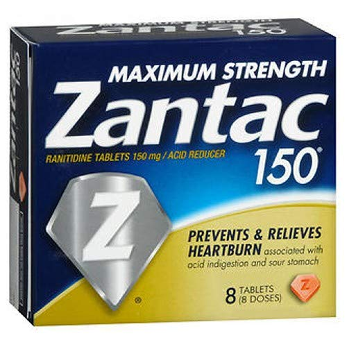 - Zantac 150 Acid Reducer, Maximum Strength Tablets, 8 Count (Pack of 2)