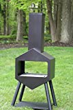 Oliver and Smith - Large Iron Outdoor Patio Chiminea Fireplace - 28' x 18' x 62' - with Stainless Steel Grill - Chiminea Weather Cover - 4 Skewers