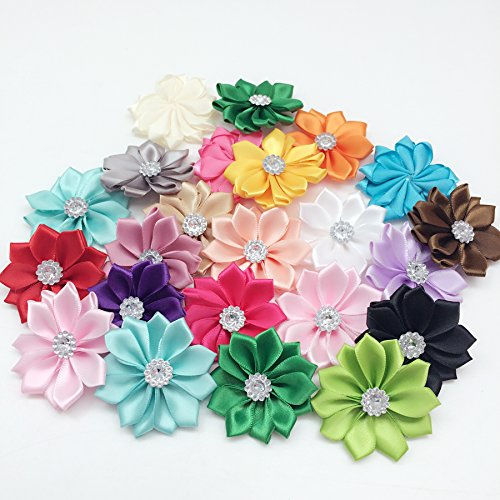 PEPPERLONELY 20 Color Set (1 Color Each) Rhinestone Center Satin Ribbon Flowers, 50mm(2 Inch)