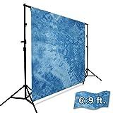 Julius Studio 6 x 9 ft. Tie Dye Pattern Dark Sky Blue, Deep Blue Ocean, Azure Sky, Cool Color, Chromakey Photo Video Studio Fabric Backdrop, Background Screen Muslin, Photography Studio, JSAG206