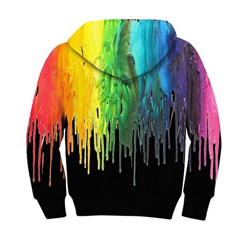 Kids de Girls Sweater Impreso 3D colores Fleece Boy bolsillo Hooded de gran sudaderas Aideaone tinta Sweatshirt con xAwqHUCf