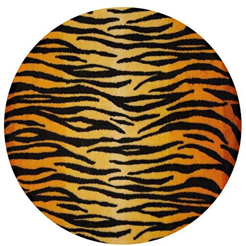INWANZI Non-Slip Round Area Rug Circular Floor Mat Living Room Bedroom Children Playroom Bathroom Water Absorbent Bath Rug - Animal Print Tiger Black Gold