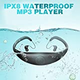 Tayogo 8GB Waterproof MP3 Player, IPX8 Swimming Waterproof Headphones Work for 6-8 Hours Underwater 3 Meters with Shuffle Feature - Black