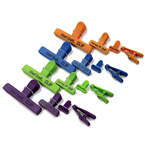 Chef Craft 42024 Bag Clip Set, Green/Blue/Orange/Purple