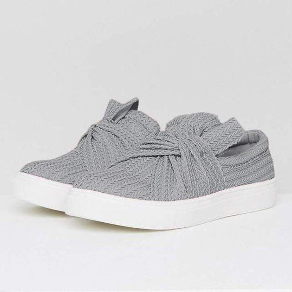 Sandals for Women THENLIAN Women Bow Casual Solid Fashion Bowknot Casual Loafers Roman Cloth Shoes(40, Gray)