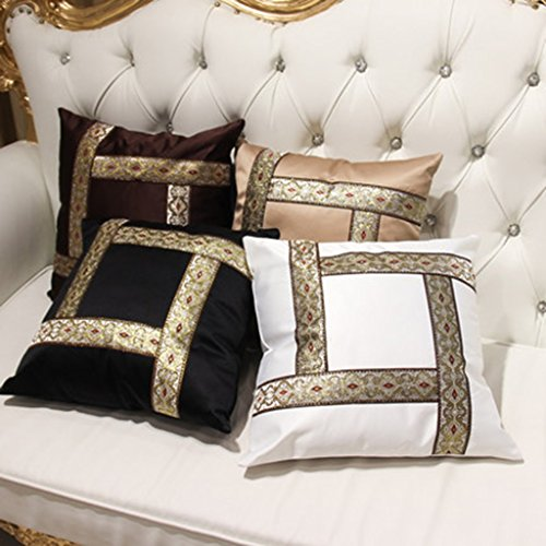 ZUOANCHEN Cushion Simple and Modern Small Clean Pillow Embroidery Cotton and Linen Sofa Living Room Head Office Cushion with Pillow4545CM (Color : Coffee) by ZUOANCHEN Bed Rest Pillows (Image #2)