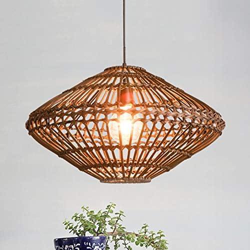 LITFAD Weave Geometric Suspension Light Natural Modern Pendant Lighting 1 Light Ceiling Hanging Light Fixture