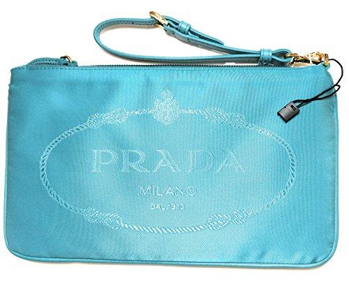 (Prada Turquoise Nylon Jacquard Designer Wristlet Handbag for Women 1NH545)