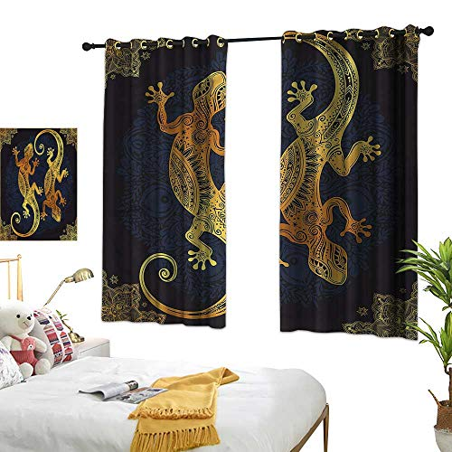 cashewii Mandala Insulated Sunshade Curtain Artistic Gecko Lizards Boho 70%-80% Light Shading, 2 Panels,55