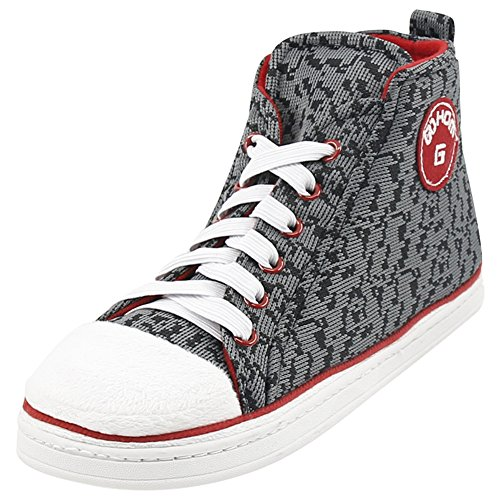Gohom Mens Varm Vinter Inomhus / Utomhus Jul High-top Sneaker Tofflor Speck Grå
