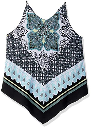 Girls Scarf Top - Amy Byer Girls' Big 7-16 Scarf Print Tank Top, Mint/Sage, L