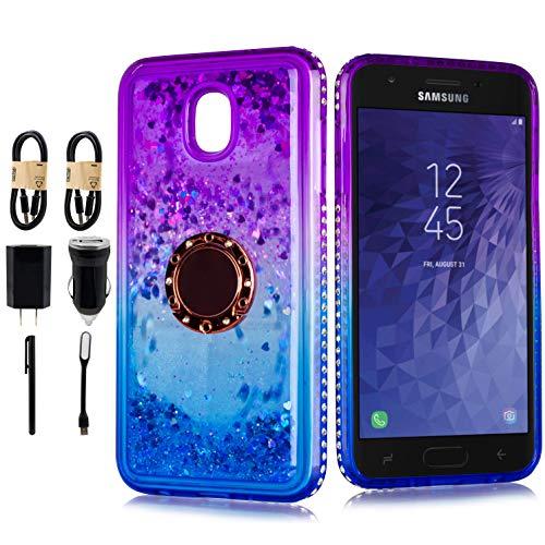 Designed for Galaxy J7 Refine/J7 2018/J7 Star/J7 Top/J7 Aura Glitter Cute Case Girls with Kickstand, Bling Diamond Rhinestone Ring Stand Sparkly Luxury [Tempered Glass] [Accessory Pack] (Purple)