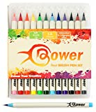 Watercolour Pens Artists Brush Markers - 12 x Calligraphy Pen Set - Bristle Tip with Rich Colours for Manga, Bullet Journals Sketchbook Colouring and Comic Book Art, 2 Sizes Available by Bower