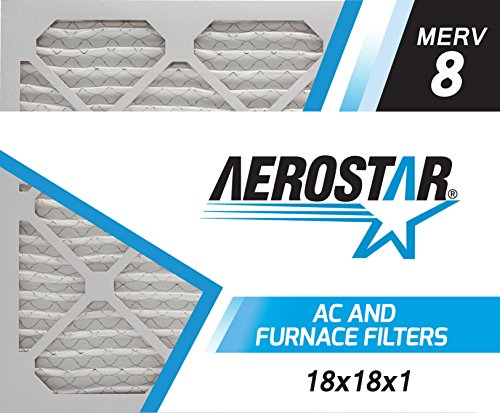 Aerostar Pleated Air Filter, MERV 8, 18x18x1, Pack of 6, Made in the USA