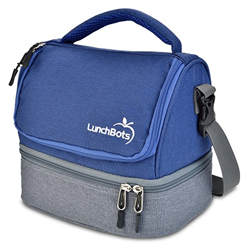 LunchBots Duplex Insulated Lunch Bag - Dual Section Design Fits Uno, Duo, Trio, Quad, Rounds, Bento Cinco Perfectly - Roomy Thermal Lunch Bag for Kids and Adults - Blue ()