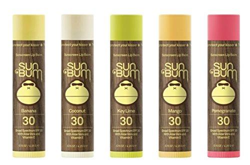 Sun Bum Sunscreen Lip Balm, SPF 30 Variety Pack, Coconut, Pomegranate, Mango, Key Lime, Banana
