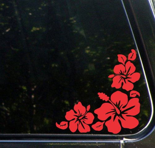 Hibiscus Corner Design 1 - Car Vinyl Decal Sticker - (5.5