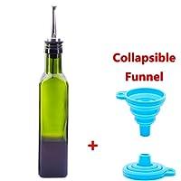 Glass Olive Oil and Vinegar Bottles Cruet with Pourer and Funnel 250ML Cooking Oil Bottle Dispenser Set for Kitchen