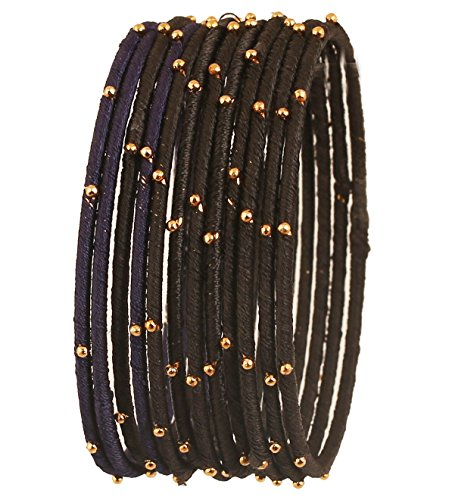 12 Bangle Set - Touchstone New Colorful Bangle Collection Indian Bollywood Exclusive Golden Glaze Jet Black Designer Jewelry Special Large Size Bangle Bracelets. Set of 12 for Women.
