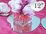 Tableclothsfactory 12'' Heart Glass Mirror Wedding Party Table Decorations Centerpieces - 4 PCS