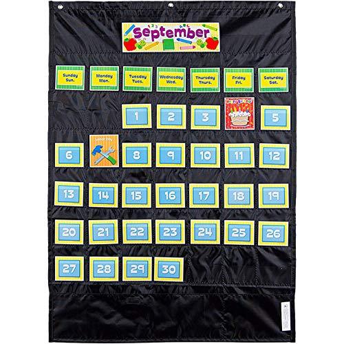 Cd Storage Pocket Chart - Carson-Dellosa CD-158574 Deluxe Calendar Pocket Chart, Black