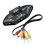 Importer520 Black 3-Way Audio Video AV RCA Switch Selector Box Splitter For XBOX XBOX360 DVD PS2 PS3 with AV Cable