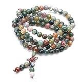 JOVIVI Tibetan Buddhist Natural Indian Agate Gemstone 8mm 108 Prayer Mala Beads Bracelet Necklace