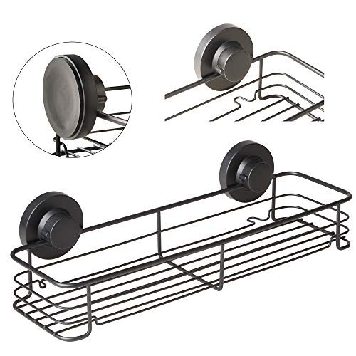 Gecko-Loc Shampoo Conditioner Holder Shower Caddy Wide Storage Basket Shelf Tray Organizer Stainless Steel w Vacuum Suction Cup - Black by Gecko-Loc