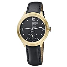 Mondaine Men's 'Helvetica' Quartz Stainless Steel and Leather Casual Watch, Color:Black (Model: MH1B2S20LB)
