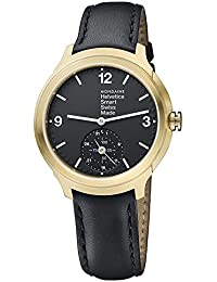 Men's 'Helvetica' Quartz Stainless Steel and Leather Casual Watch, Color Black (Model: MH1B2S20LB)