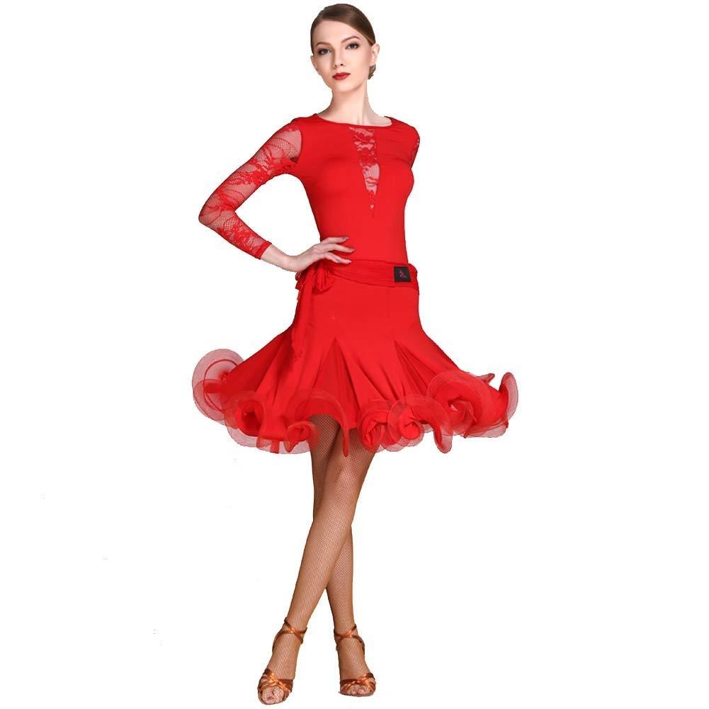 rouge grand JTSYUXN Simple élégant Manches Longues Adulte Danse Latine Robes pour Femmes Danse Latine Jupe Costume De Scène Rumba Tango Perforhommece Jupe (Couleur   Rose rouge, Taille   XL)