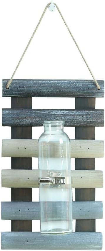 Vosarea Jardineras Colgantes de Madera jarrones de Vidrio montados en la Pared Botella para Plantas hidropónicas decoración de jardín de Oficina en el hogar
