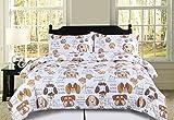 HowPlum King Dog Puppy Comforter Bedding Set Pet Themed Animal Lover Brown, Tan and White
