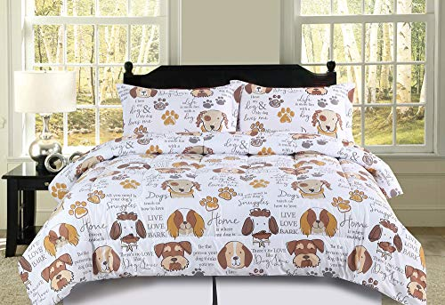 (HowPlum Full/Queen Dog Puppy Comforter Bedding Set Pet Themed Animal Lover Brown, Tan and White)