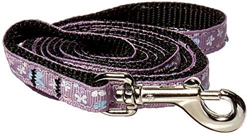 Mirage Pet Products Butterfly Nylon Ribbon Leash for Dogs and Cats, 3/8-Inch by 4-Feet, Lavender