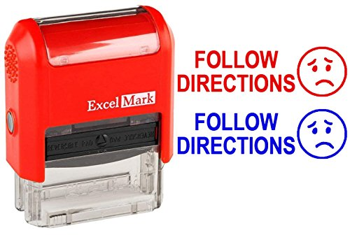 Follow Directions - ExcelMark Self-Inking Two-Color Rubber Teacher Stamp - Perfect for Grading Homework - Red and Blue Ink