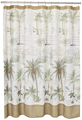 Ivory with Green and Brown Fabric Palm Tree Shower Curtain