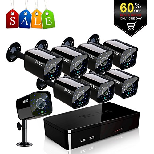 ELEC 8CH HDMI 960H DVR 1500TVL Outdoor Indoor Day Night IR-CUT CCTV Surveillance Home Video Security Camera System , Motion Detection Push Alerts QR Code Quick Scan Remote Viewing- NO Hard Drive … by ELEC