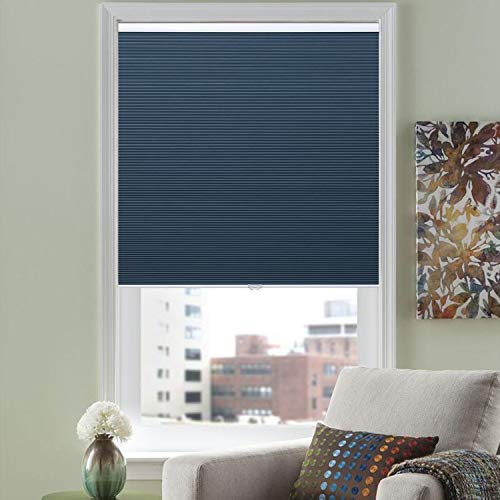 HOMEDEMO Cordless Blackout Cellular Shades Fabric Honeycomb Blinds for Windows, Doors and Bedroom, White Blue 23W x 64H